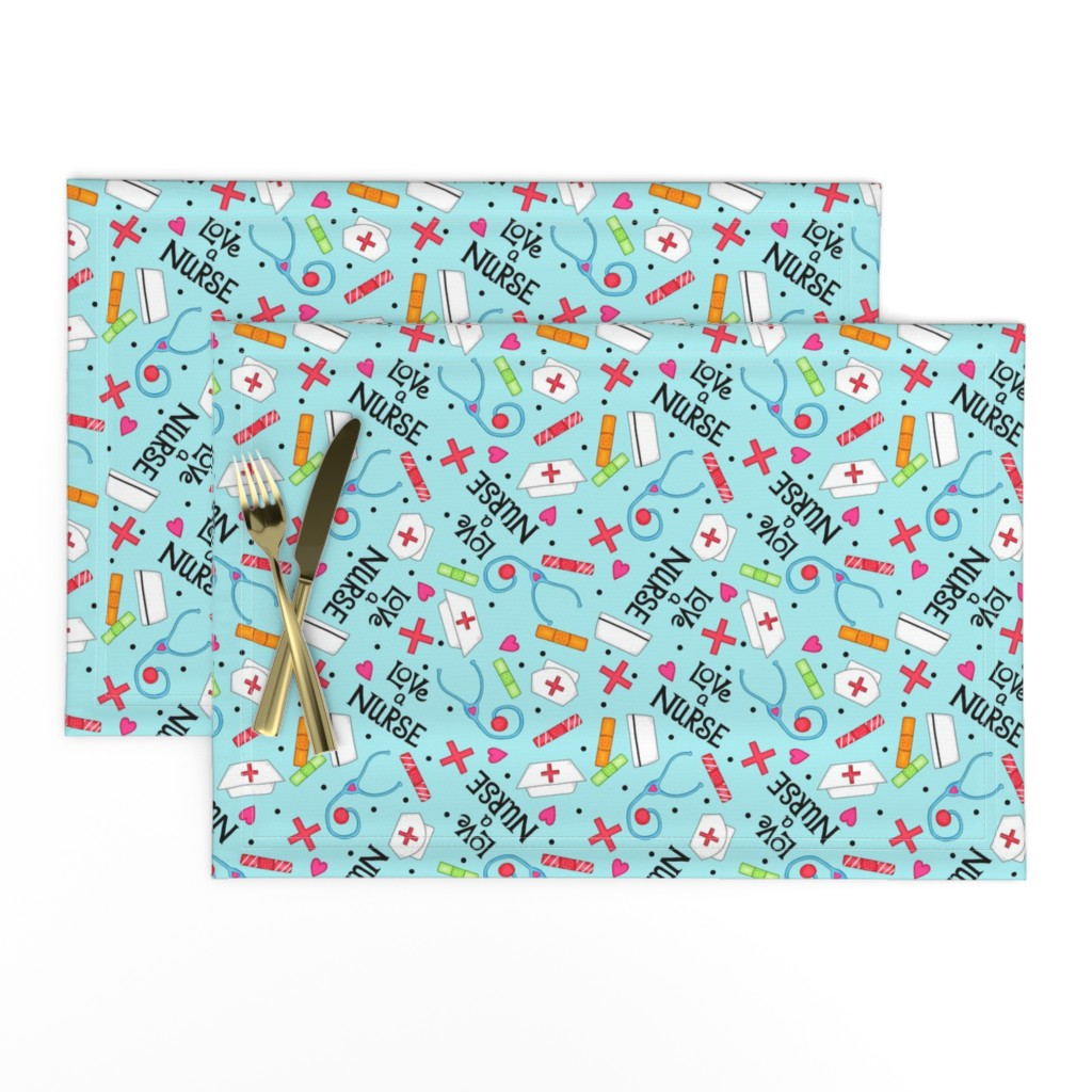 Lamona Cloth Placemats featuring Love a Nurse Whimsy Blue by phyllisdobbs