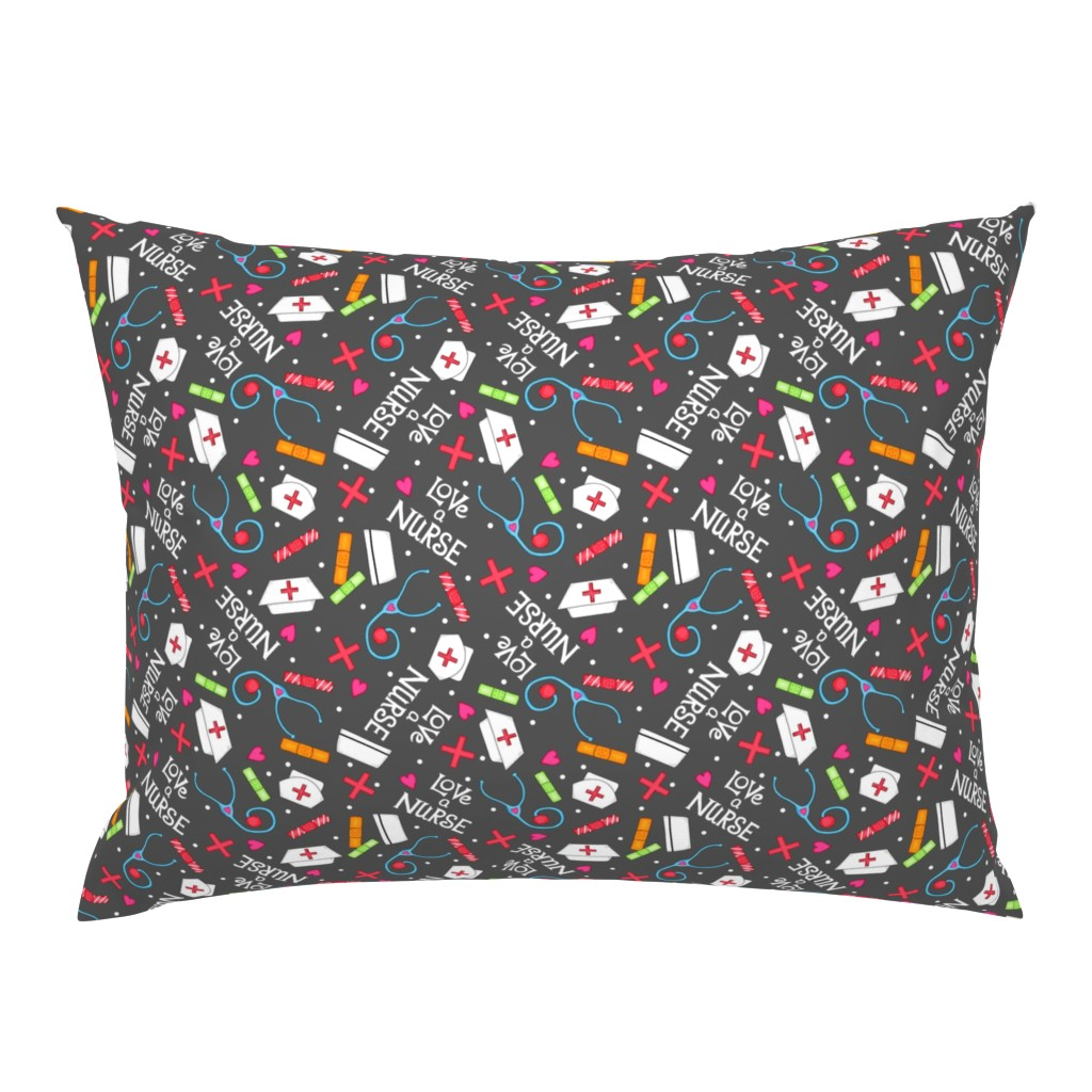 Campine Pillow Sham featuring Love a Nurse Charcoal Gray by phyllisdobbs