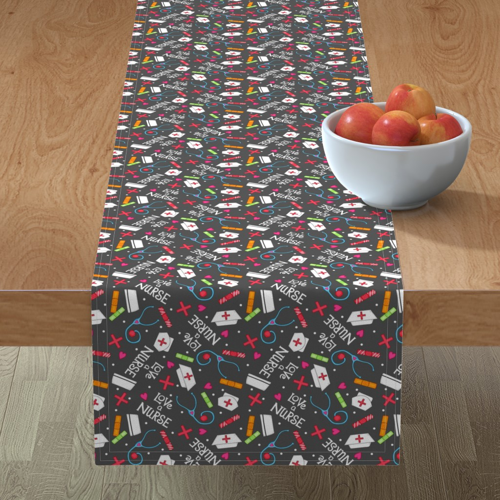 Minorca Table Runner featuring Love a Nurse Charcoal Gray by phyllisdobbs