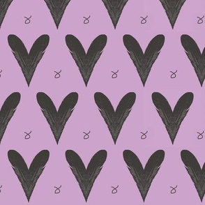 Hearts from Feathers Orchid Purple Upholstery Fabric