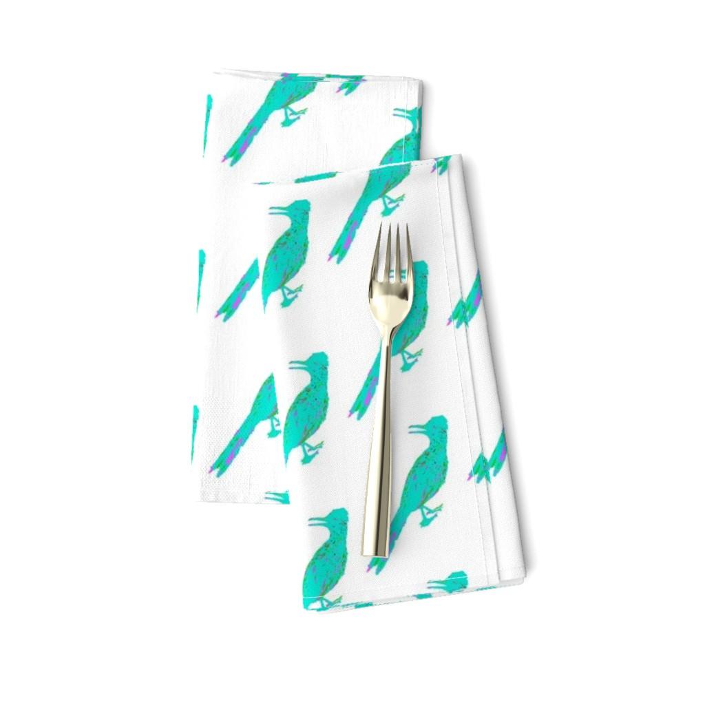 Amarela Dinner Napkins featuring Roadrunner Aqua by creative_spaces