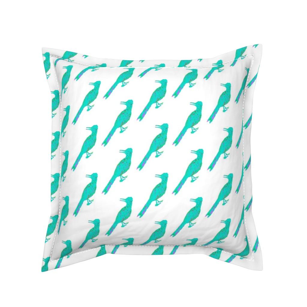 Serama Throw Pillow featuring Roadrunner Aqua by creative_spaces