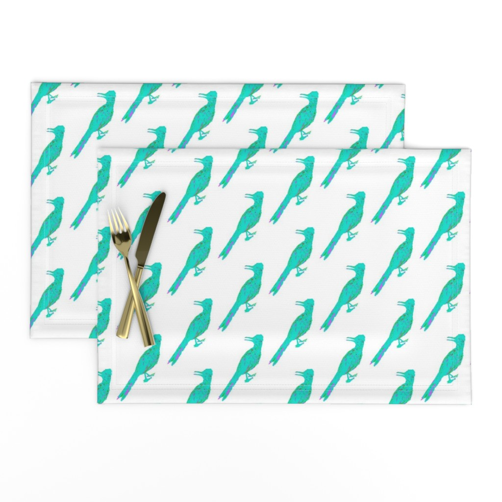 Lamona Cloth Placemats featuring Roadrunner Aqua by creative_spaces