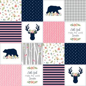 Baby Girl Patchwork Quilt Top - Bear & Deer Patchwork, Navy Pink & Gray