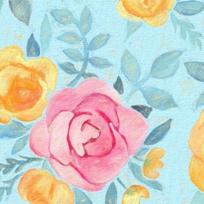 Chalk Pastel Pink & Orange Roses on Sky Blue - large print