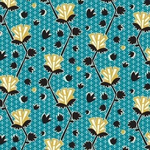 Abstract floral || Geometric Flower Art deco yellow gold teal green black  dots _ Miss Chiff Designs