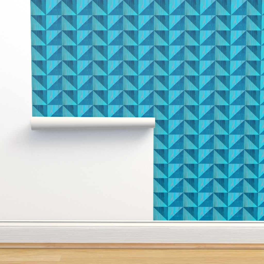 Isobar Durable Wallpaper featuring geometric triangle paint textures by magentarosedesigns