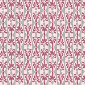 Mid-century Modern Abstract Valentine  Pink red Gray grey Texture Linen  Geometric dots _ Miss Chiff Designs