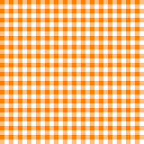 orange and white gingham