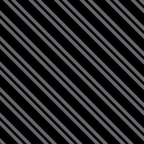 Diagonal Double Stripes in Black and Grey