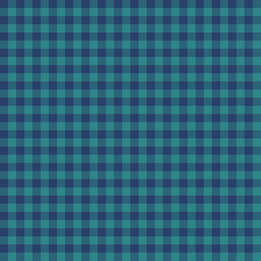 navy and teal gingham