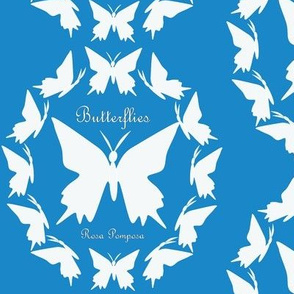 White butterfly - blue