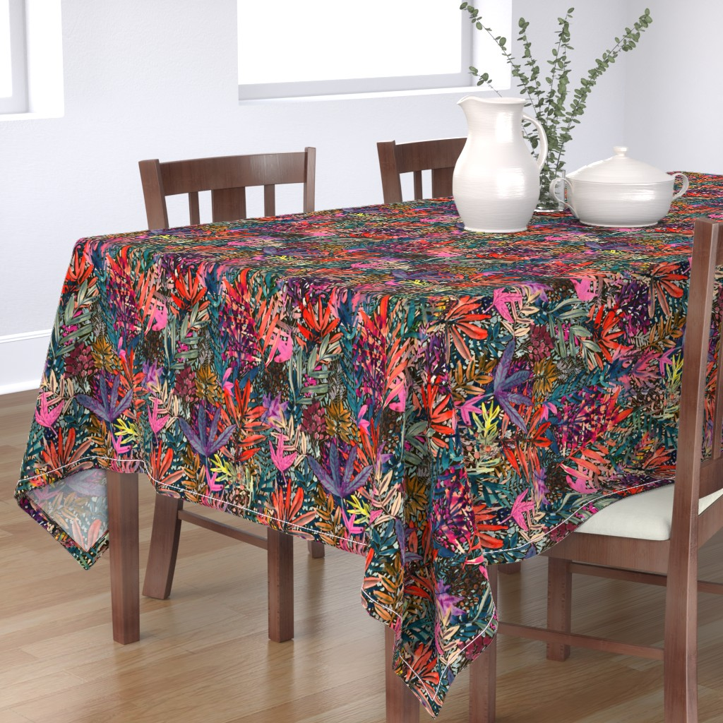 Bantam Rectangular Tablecloth featuring Fall Leaves Watercolor by rebecca_reck_art