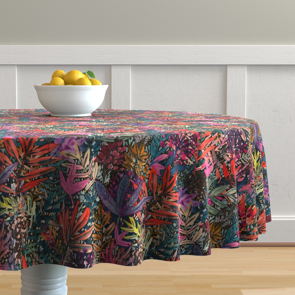 Malay Round Tablecloth featuring Fall Leaves Watercolor by rebecca_reck_art