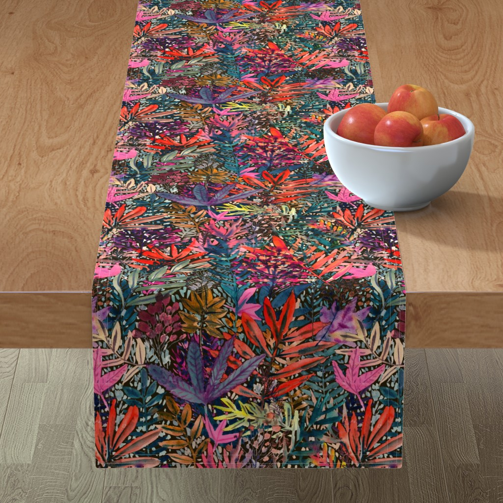 Minorca Table Runner featuring Fall Leaves Watercolor by rebecca_reck_art