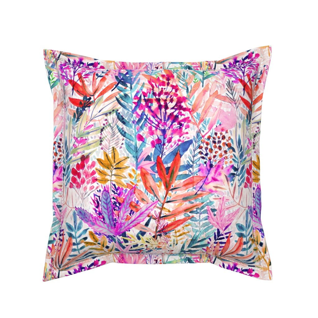 Serama Throw Pillow featuring Dreamy pink leaves Watercolor by rebecca_reck_art