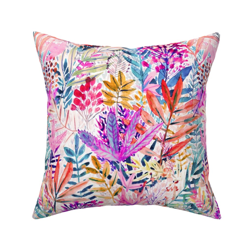 Catalan Throw Pillow featuring Dreamy pink leaves Watercolor by rebecca_reck_art