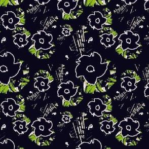 Black Flowers on Black Upholstery Fabric