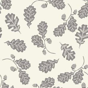 Oak leaves nature botanical fall autumn fabric pattern cream