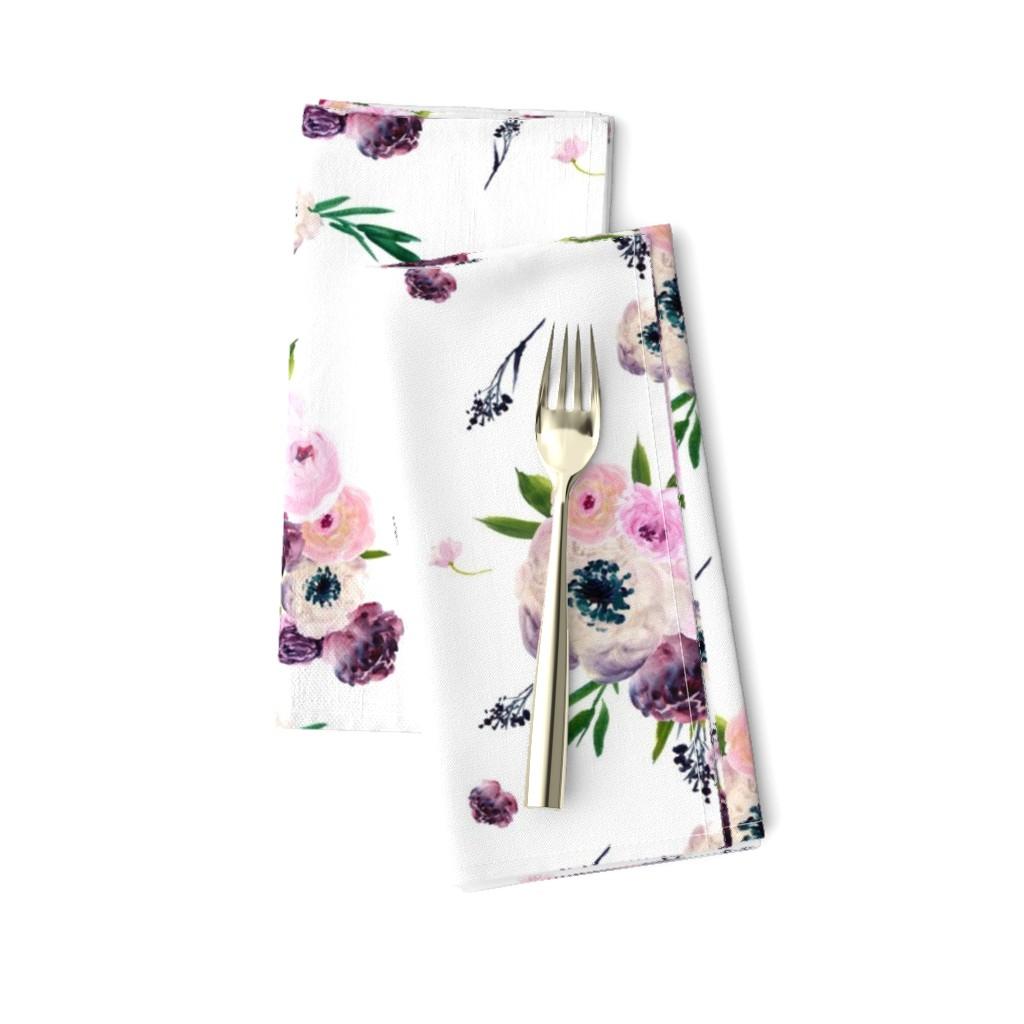 "Amarela Dinner Napkins featuring 8.5"" Dark Floral Print in White / Half-Drop by shopcabin"
