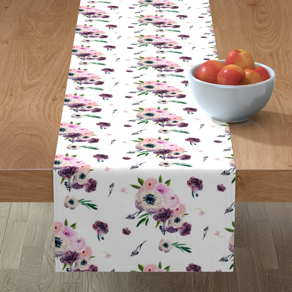 """Minorca Table Runner featuring 8.5"""" Dark Floral Print in White / Half-Drop by shopcabin"""
