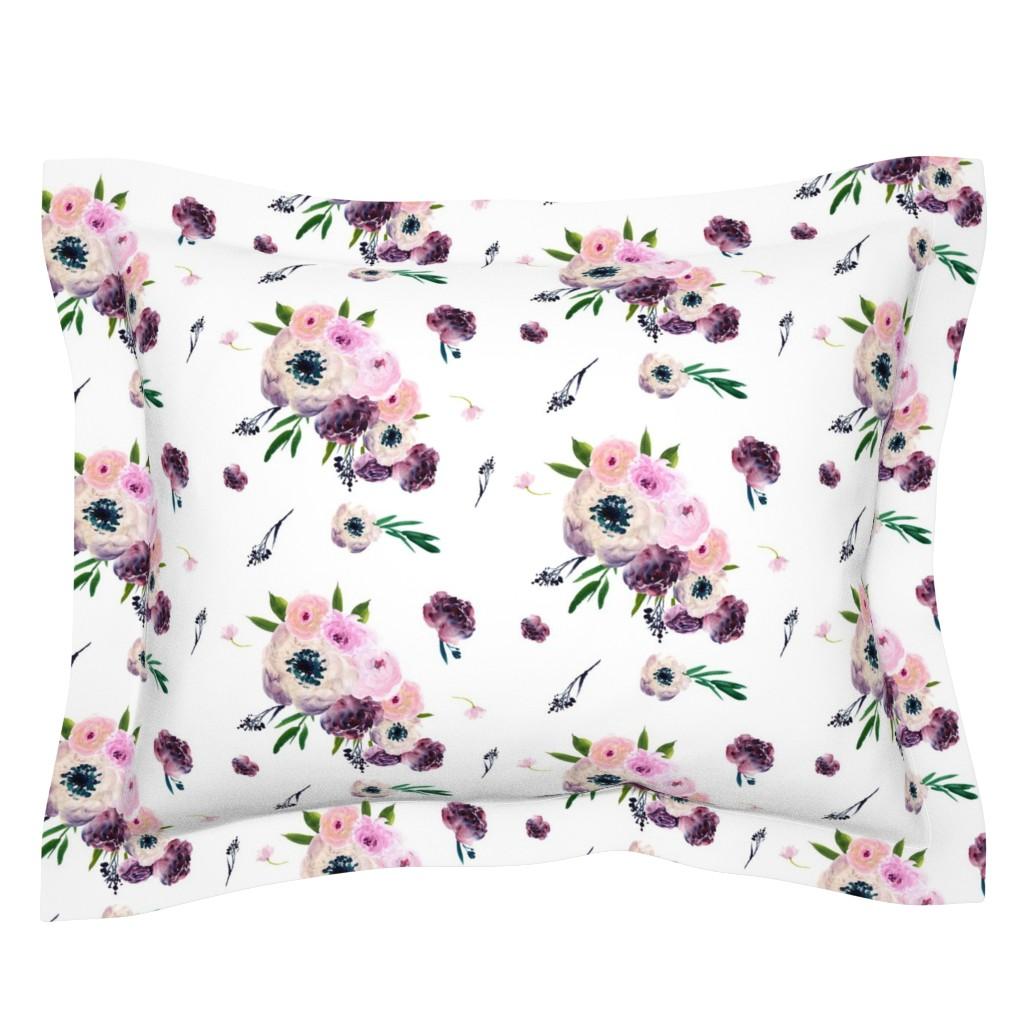 "Sebright Pillow Sham featuring 8.5"" Dark Floral Print in White / Half-Drop by shopcabin"