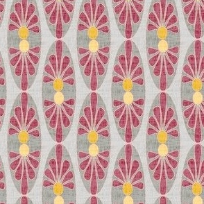 17-08X Abstract floral oval || mid-century modern linen texture  home decor || red mustard yellow garnet gold gray grey geometric dots _ Miss Chiff Designs