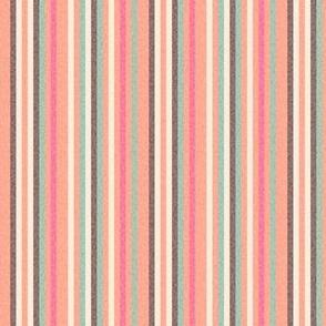 17-08Q Textured Pinstripe peach coral pink brown cream || pin stripe thin mid-century modern