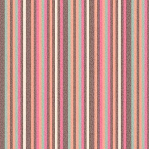 17-08P Pinstripe peach coral pink green brown || Pin stripe Mid-Century modern _ Miss Chiff Designs