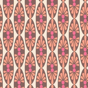 17-8AN Coral Pink Brown Cream abstract floral oval || Peach Mid-century modern tropical girl_ Miss Chiff Designs