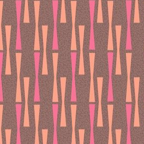 17-08M Coral Pink Drinks on Brown || 50s Abstract Mid-century modern peach _ Miss Chiff Designs