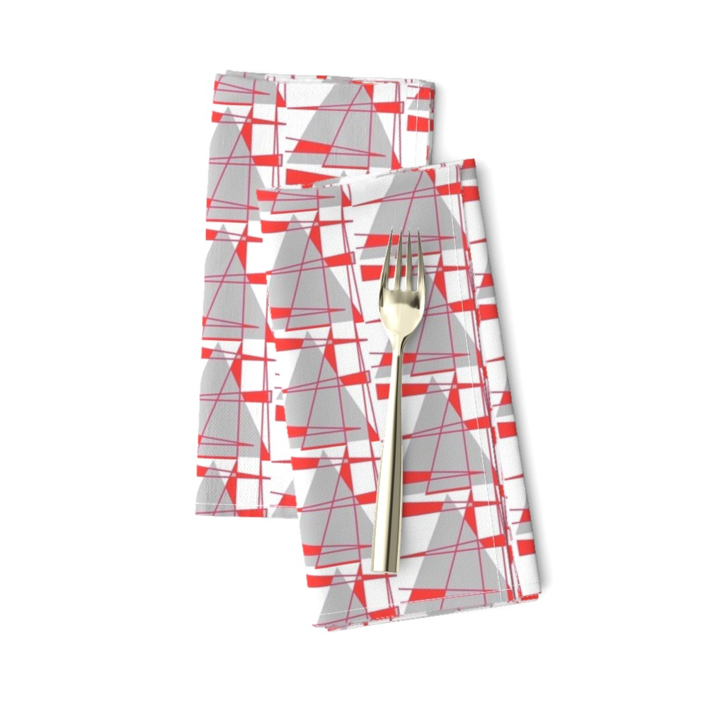 Amarela Dinner Napkins featuring Sailboats - coral and gray by positive_space_unlimited