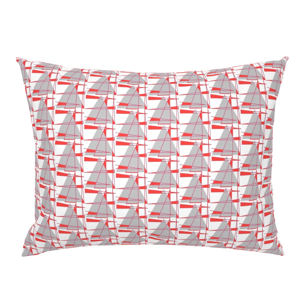 Campine Pillow Sham featuring Sailboats - coral and gray by positive_space_unlimited