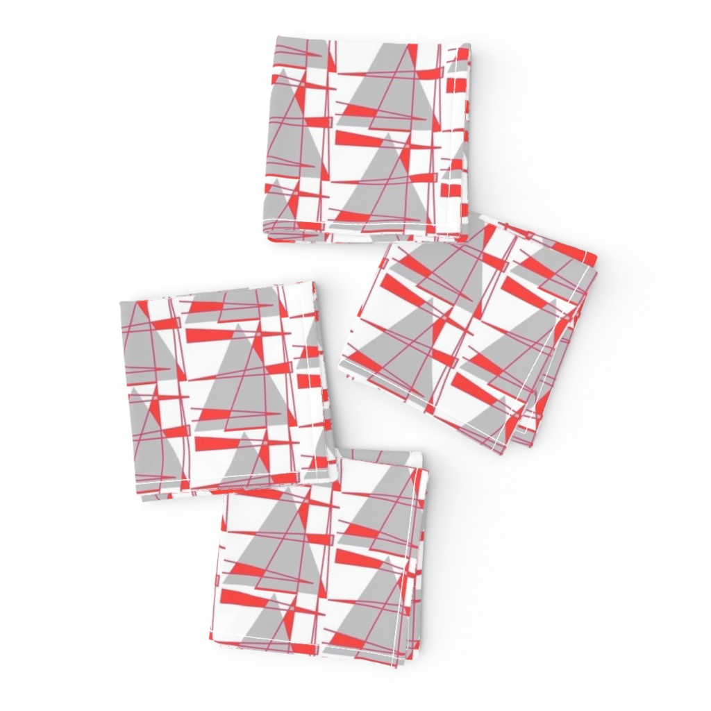Frizzle Cocktail Napkins featuring Sailboats - coral and gray by positive_space_unlimited