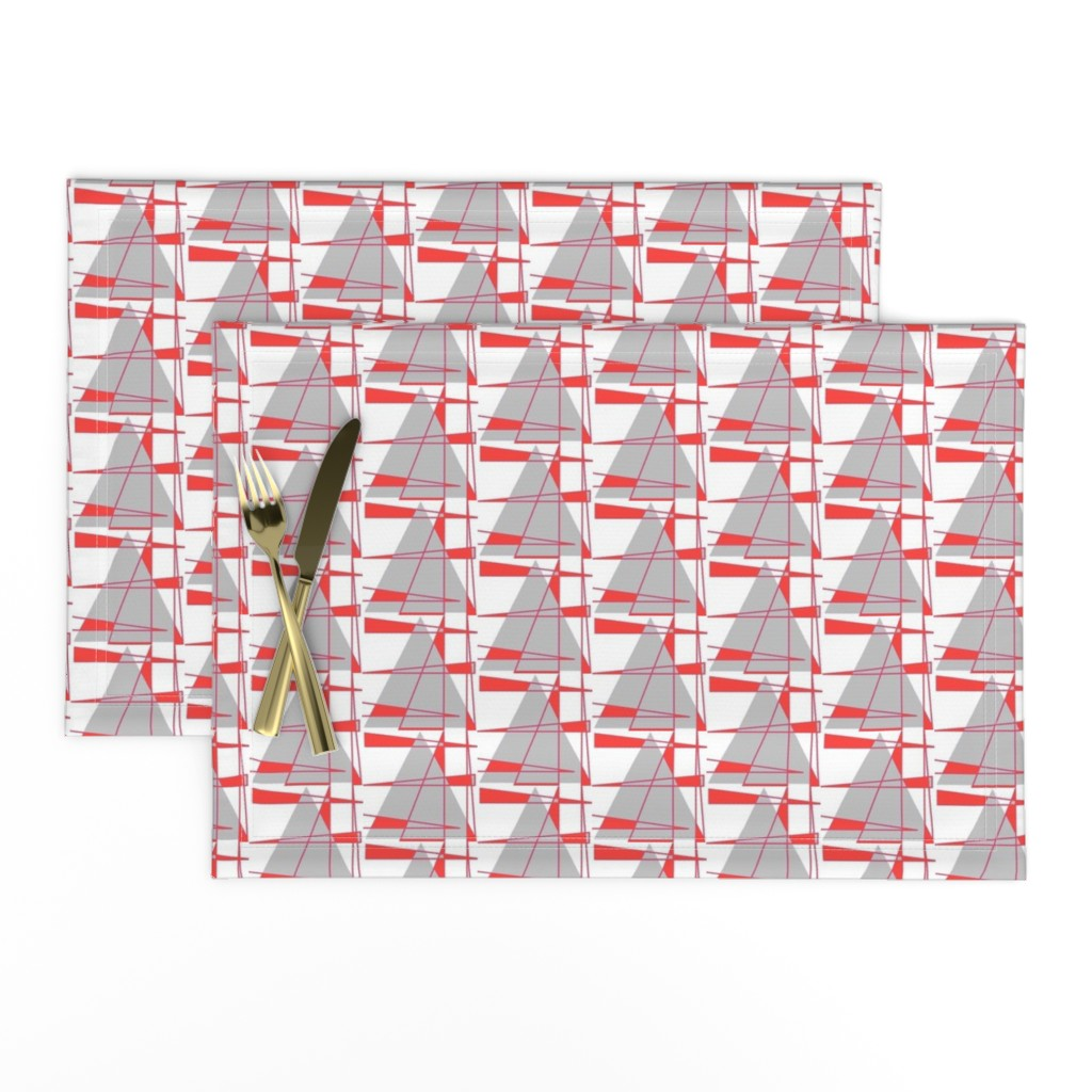 Lamona Cloth Placemats featuring Sailboats - coral and gray by positive_space_unlimited