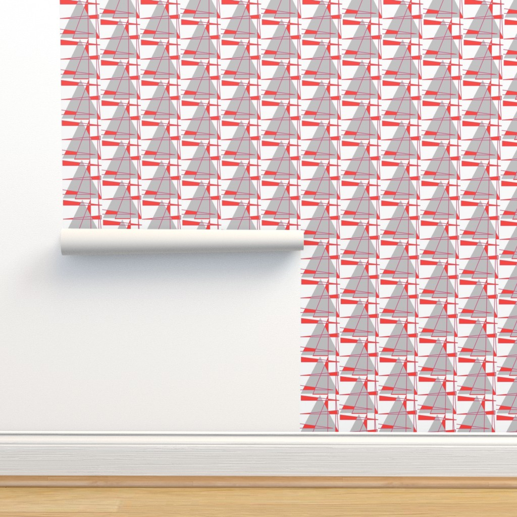 Isobar Durable Wallpaper featuring Sailboats - coral and gray by positive_space_unlimited