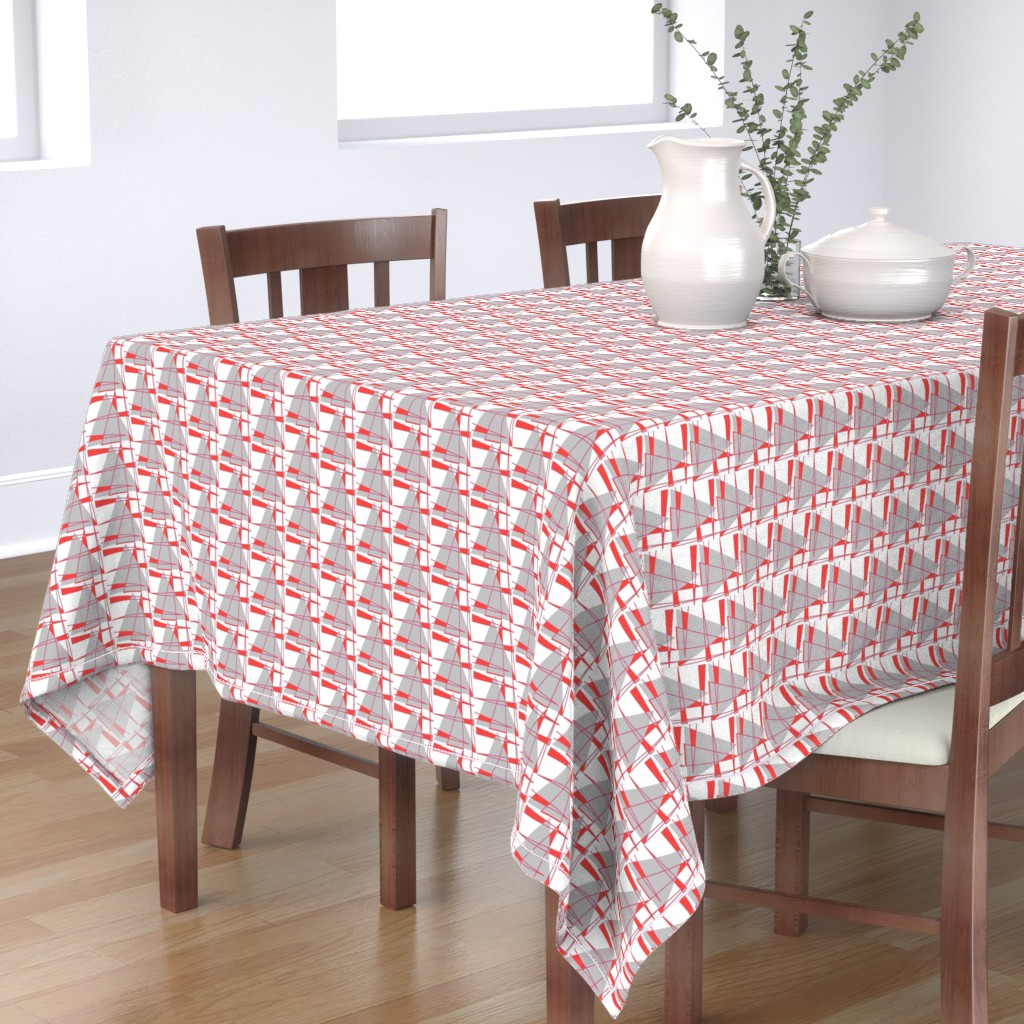 Bantam Rectangular Tablecloth featuring Sailboats - coral and gray by positive_space_unlimited