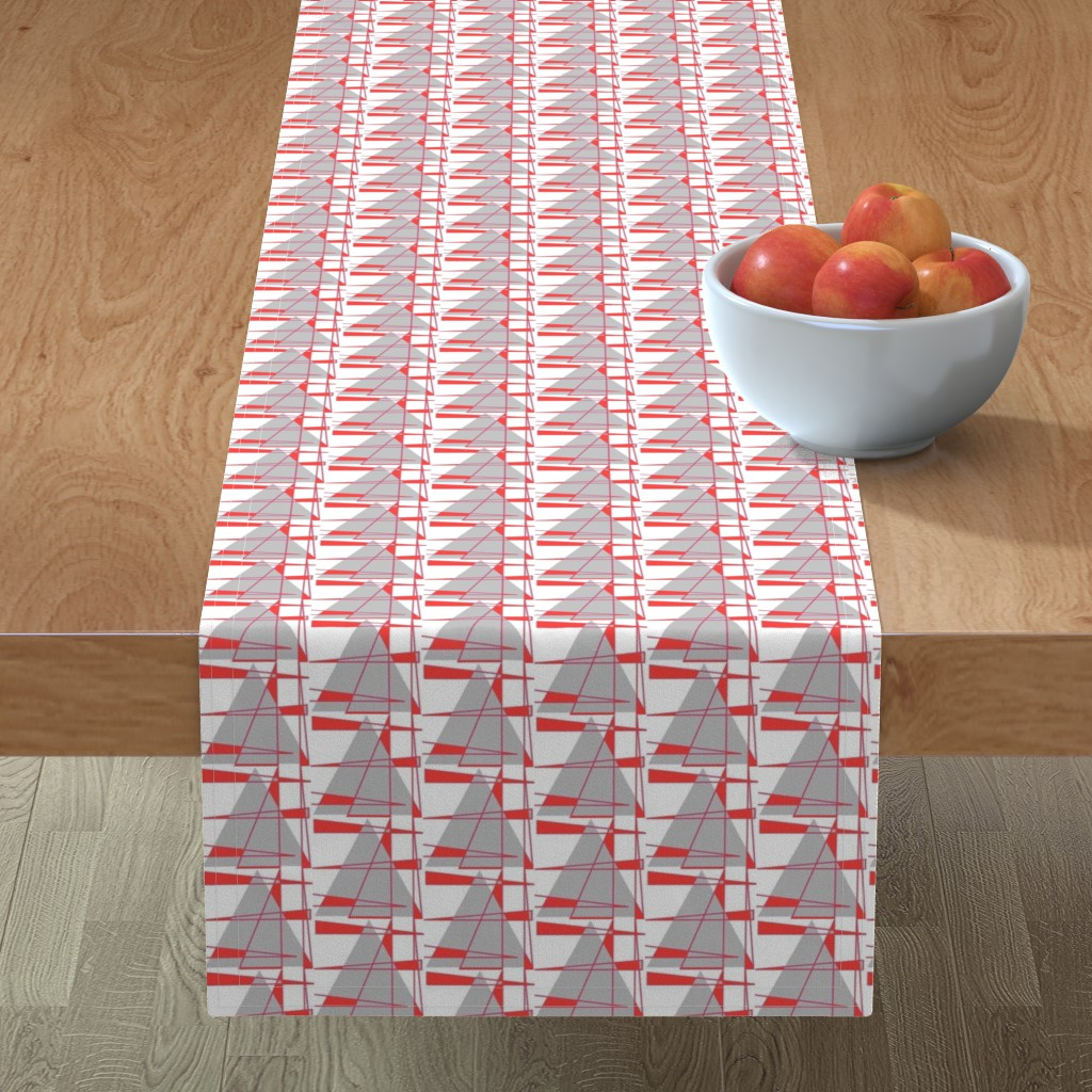 Minorca Table Runner featuring Sailboats - coral and gray by positive_space_unlimited