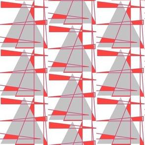 Sailboats - coral and gray
