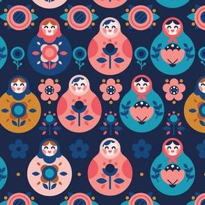 Nesting Dolls Pattern Dark