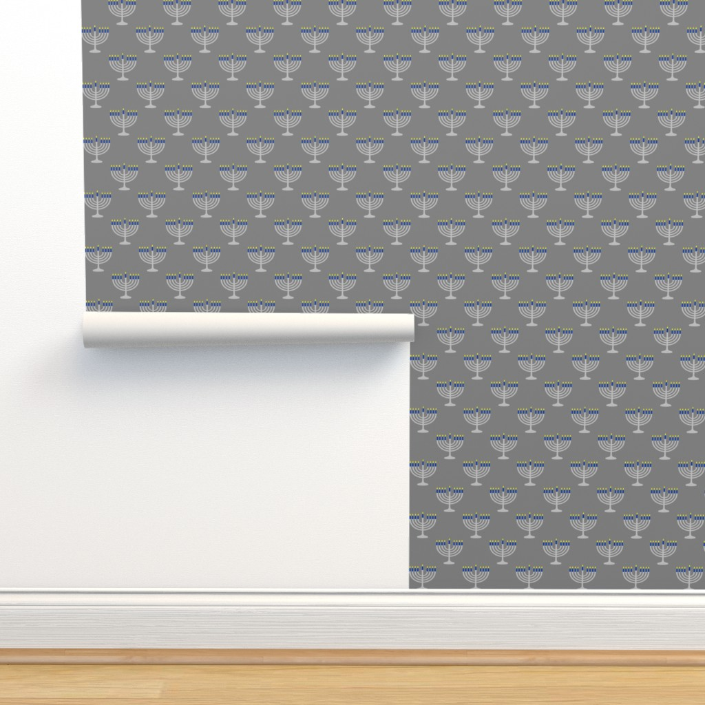 Isobar Durable Wallpaper featuring Two Inch Matte Silver and Blue Menorahs on Medium Gray - Larger Scale by mtothefifthpower