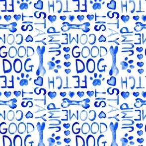 17-14G Small Dog Paw Words Watercolor Blue || Royal Indigo Animal Pet Bone Heart Love  _Miss Chiff Designs