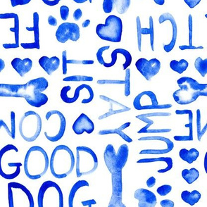 17-14F Dog Words Watercolor Large Scale || blue white animal pet bone paw heart love indigo