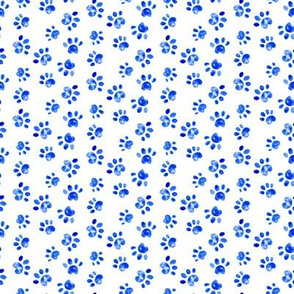 17-14D Small Dog Watercolor Paw Print || Animal spots dots pet bone indigo blue white _ Miss Chiff Designs