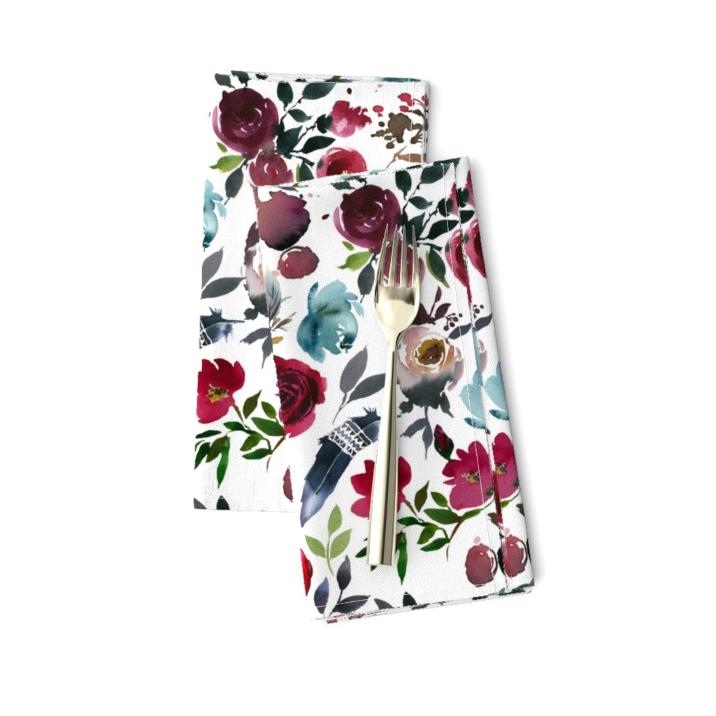 Amarela Dinner Napkins featuring Rose Wine Boho Florals by hipkiddesigns