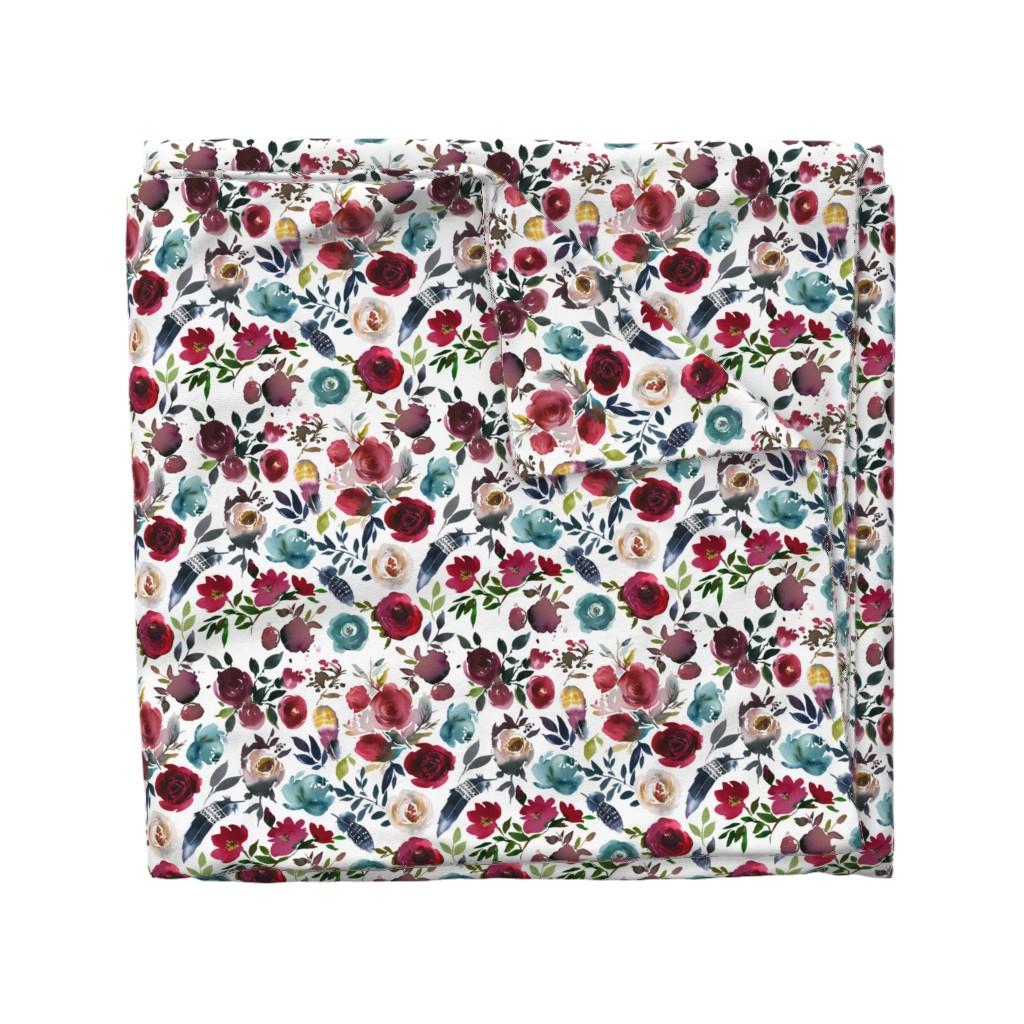 Wyandotte Duvet Cover featuring Rose Wine Boho Florals by hipkiddesigns