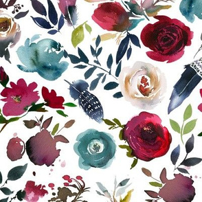 Rose Wine Boho Florals