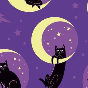 Moonlight Cats in Purple Sky