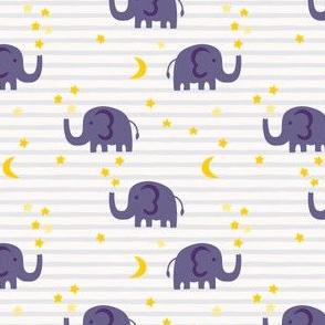 Elephant and stars - purple