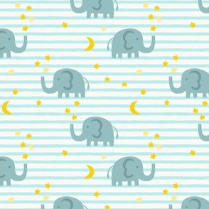 Elephant and stars - light blue